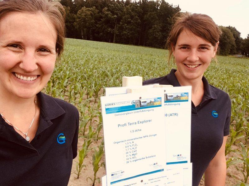 Beraterinnen der Geries GmbH bei der Maisunterfußdüngung 27.06.2019